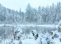 Small Winter Stream With Snowy Trees. Royalty Free Stock Image - 60203986