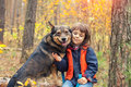 Little Girl Walking With Dog Stock Photography - 60214442