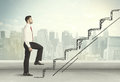 Business Man Climbing Up On Hand Drawn Staircase Concept Royalty Free Stock Photography - 60216337