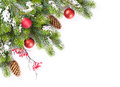 Christmas Tree Branch With Snow And Baubles Royalty Free Stock Photos - 60218788