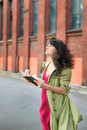Girl With A Book On The Background Of The Industrial Landscape Stock Images - 60220514