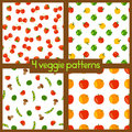 Vegetarian Seamless Patterns. Healthy Lifestyle. Veggie Backgrounds With Fruits, Vegetables, Berries And Mushrooms. Royalty Free Stock Photos - 60233868