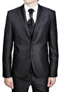 Mens Evening Black Suit, Tie Knot Decorated Big Pin Brooch. Stock Photos - 60234743