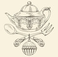 Tea Pot With Spoon And Fork Royalty Free Stock Photo - 60244805