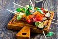 Fresh Summer Vegetable Kebabs With  Eggplant And Cherry Tomatoe Royalty Free Stock Photo - 60257795