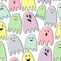 Happy Halloween Seamless Vector Pattern With Colorful Ghosts On White Background. Stock Image - 60259341