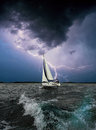 White Sail.Storm Sea.Black Background. Stock Image - 60260671