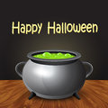 Happy Halloween Banner With Witch Cauldron Boiling The Potion. Royalty Free Stock Photos - 60264848