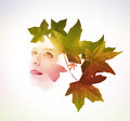 Double Exposure Of Woman With Tree Leaves Royalty Free Stock Photos - 60273778