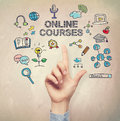 Hand Pointing To Online Course Concept Stock Photos - 60274013