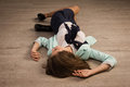 Crime Scene Simulation. Victim Lying On The Floor Royalty Free Stock Photos - 60286498
