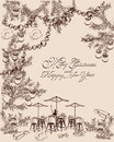 Christmas Party Background With Sweets And Cakes, Cafe Views. Hand Drawn Vector Sketch. Royalty Free Stock Photography - 60301297