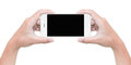 Hand Hold Phone Isolated On White With Clipping Path Stock Photos - 60329843