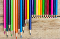 Coloured Pencils On Wood Stock Image - 60330781