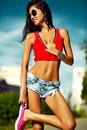 Hot Sexy Girl In Summer Cloth In The Street Royalty Free Stock Images - 60342059