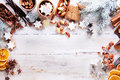 Christmas Frame With Spices, Nuts And Biscuits Royalty Free Stock Photo - 60342965