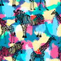Hand Drawn Seamless Pattern With Zebra And Giraffe. Royalty Free Stock Image - 60363126