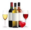 Bottles Of Red, Pink And White Wine And Wineglasses Isolated Royalty Free Stock Images - 60381059