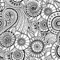 Seamless  Floral Retro Doodle Black And White Pattern In Vector. Royalty Free Stock Photography - 60381107
