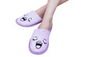 Woman Feet With Smile Slippers And Happy Stock Photos - 60410103