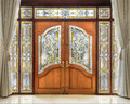 Teak  Wooden Door With Frosted Glass Interior. Stock Photography - 60418622