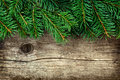 Christmas Background Of Fir Tree On Old Vintage Wooden Board, Copy Space For Text Stock Photography - 60425322