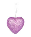 Christmas Decoration, Purple Heart Isolated On White Stock Photos - 60429123