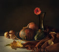 Still Life With Pumpkins And Flower Royalty Free Stock Image - 60429876