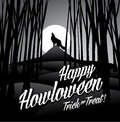 Happy Howloween Howling Wolf And Full Moon Stock Photography - 60431382