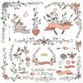 Colored Doodles Borders,frames,wreath Set.Floral Royalty Free Stock Photography - 60432807
