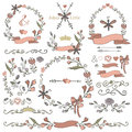 Colored Doodles Borders,frames,wreath Set,floral Royalty Free Stock Images - 60436699