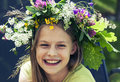 Happy Smiling Girl With Flower Wreath Stock Photography - 60436762