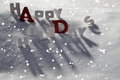 Christmas Card With White And Red Letters, Happy Holidays, Snow Royalty Free Stock Images - 60452329