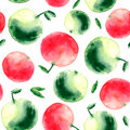 Watercolor Apple Seamless Pattern. Royalty Free Stock Images - 60452599