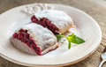 Cherry Strudel With Fresh Mint Stock Photos - 60457943
