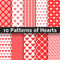 Heart Shape Vector Seamless Patterns. Red Color Stock Photo - 60470530