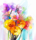 Abstract Oil Painting Of Spring Flower. Still Life Of Yellow, Pink And Red Gerbera. Royalty Free Stock Photos - 60475478