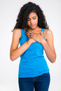 Afro American Woman Having Pain In Heart Stock Images - 60479584