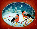 Two Red Birds In Oval Frame Royalty Free Stock Photography - 60486417