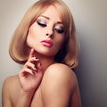 Beautiful Makeup Woman With Perfect Clean Skin Looking Down And Royalty Free Stock Image - 60493976