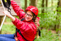Child Reaching Platform Climbing In High Rope Course Stock Image - 60499671