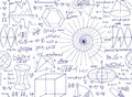 Mathematical Vector Seamless Pattern With Plots, Figures And Formulas Royalty Free Stock Photography - 60503017