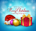 3D Realistic Merry Christmas Greetings With Red Gift Stock Photo - 60504330