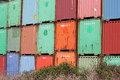 Stacked Cargo Containers At A Railroad Track Stock Photos - 60504683