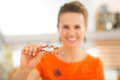Closeup On Woman Holding Cookie Cutters For Halloween Biscuits Royalty Free Stock Photography - 60508197