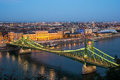 Landscape With The Liberty Bridge In The Evening In Budapest, Hu Royalty Free Stock Images - 60511279
