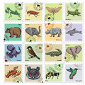 Set Of  Stamps With Different Animals Stock Image - 60544241