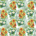 Seamless Pattern With Yellow Sunflowers Painted In Watercolor On A White Background. Stock Image - 60557031