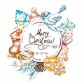 Winter Hand Drawn Greeting Card With Christmas Royalty Free Stock Photography - 60583237