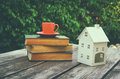 Coffee Cup Mug And Book Over Wooden Table Outdoors, At Afternoon Time. Small House Model Over Wooden Table Outdoors At Garden Royalty Free Stock Photography - 60597297